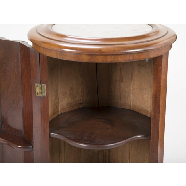 Mid 19th Century Octagonal Base Mahogany Side Cabinet With Round Inset Marble Top For Sale - Image 5 of 9