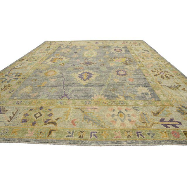 Boho Chic Contemporary Turkish Oushak Rug in Pastel Colors with Tribal Boho Chic Style For Sale - Image 3 of 9