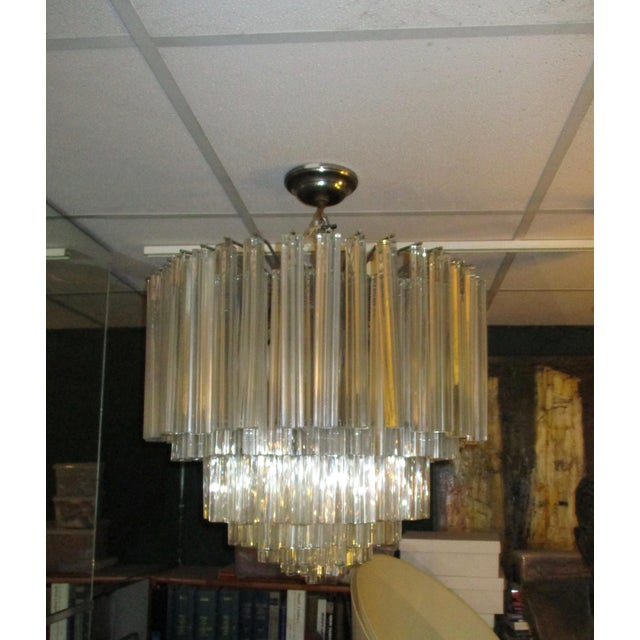 Modern 1960's Chrome and Crystal Drops Chandelier For Sale - Image 3 of 6