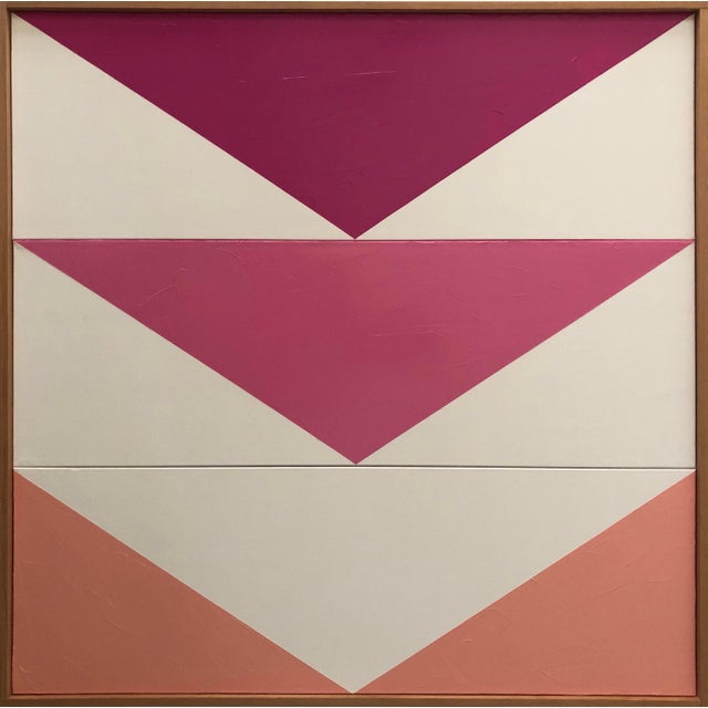 "2010s Original Acrylic Painting ""Pink Arrow Triptych Jet0579"" For Sale - Image 5 of 5"