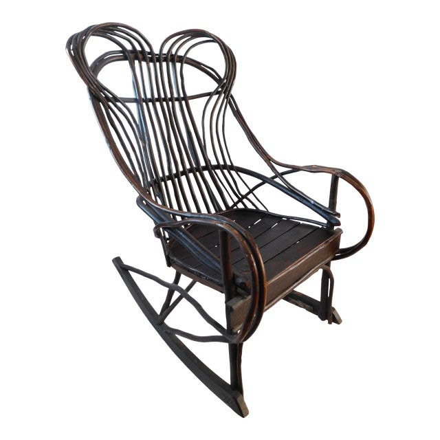 20th C. American Adirondack Twig Willow Rocking Chair For Sale