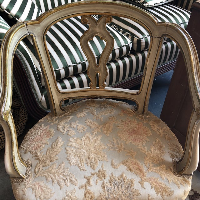 """Beautiful pair of French gilded handcarved accent chairs, perfect for the interior designer. All original. Antique. 17""""..."""