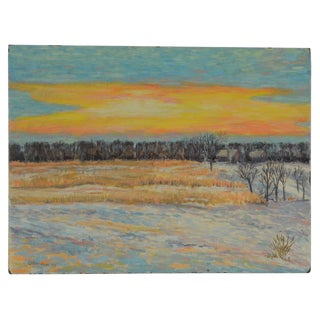 Original Signed Vintage Impressionist Oil/Board-Listed American Artist-Pastoral Landscape at Sunset For Sale