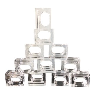 1970s Vintage Lucite Napkin Rings - Set of 12 For Sale