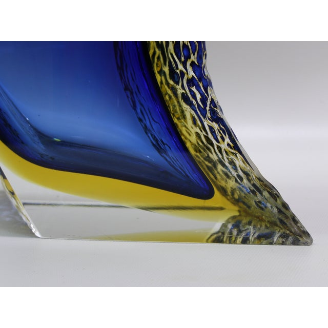 Large Italian Mandruzzato Murano Blue & Yellow Glass Sommerso Vase Mid-Century Modern MCM Campanella - Image 8 of 11
