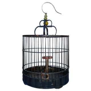 Antique Chinese Black Birdcage For Sale