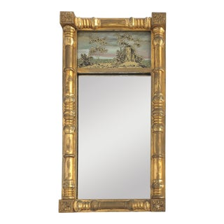 19th-C Federal Reverse Painted Giltwood Tabernacle Trumeau Mirror For Sale