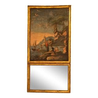 Louis XVI Style Giltwood Trumeau Mirror, Italy Circa 1875 For Sale