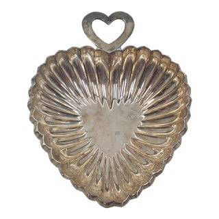 Silver Plated Heart Dish by Godinger For Sale