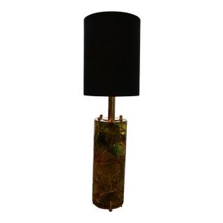 1970s Green Fractal Resin Lamp, Brass Plate For Sale