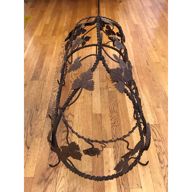 Brown 1970s Custom Crafted Enchanting Wrought Iron Grape Vine Pot Rack For Sale - Image 8 of 13