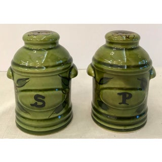 Vintage Green California Pottery Salt & Pepper Set Preview