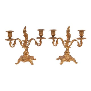 Early 20th Century French Rococo Style Candelabras - a Pair For Sale