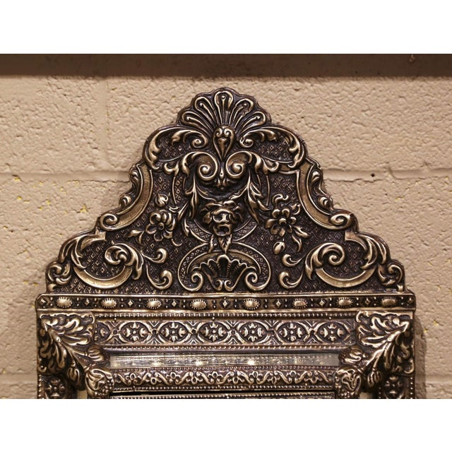Late 19th Century 19th Century French Napoleon III Repousse Brass Wall Mirror With Inside Brushes For Sale - Image 5 of 8