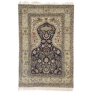 1930s Vintage Turkish Hereke Koum Kapi Design Silk Prayer Rug - 4′ × 6′ For Sale