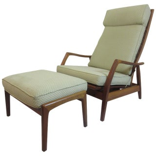 Dux Teak Lounge Chair and Ottoman For Sale