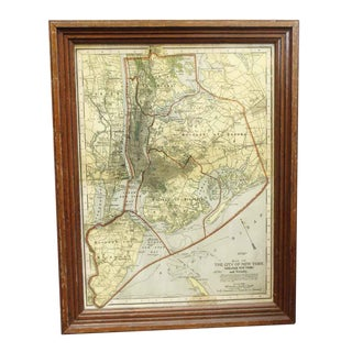 Late 20th Century Vintage Framed New York City Map For Sale