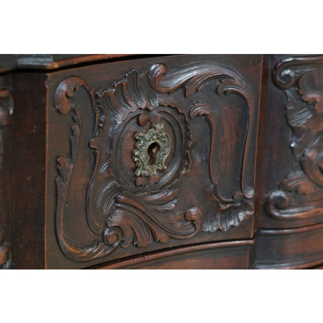Vintage French Louis XV Marble Top Walnut Chest For Sale In Philadelphia - Image 6 of 13