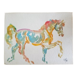 Colorful Horse Watercolor Painting For Sale