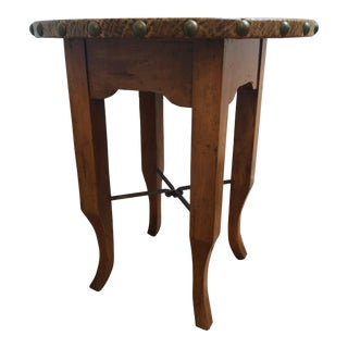 Traditional Leather and Wood Round Side Table