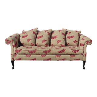 Vintage Sofa Pink Butterflies on Beige Linen French Country Couch Down Feathers For Sale