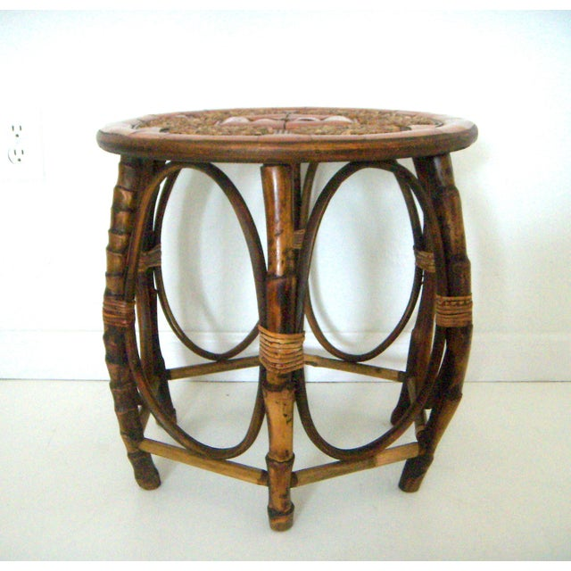Mid Century 50/60's round bamboo drum table with a six panel geometric stone top. Six curved legs support the top with a...