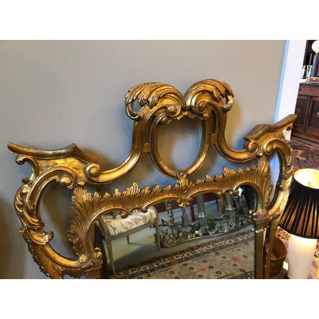 Chippendale Chippendale Style Mid Century Hand Carved Gilt Italian Rococo Mirrors - a Pair For Sale - Image 3 of 11
