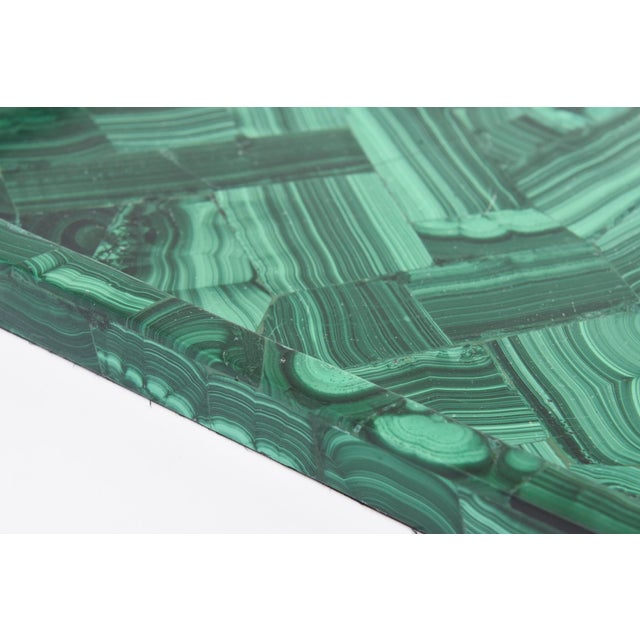 Green R&Y Augousti Faux Malachite Compostion Wood and Brass Tray For Sale - Image 8 of 10