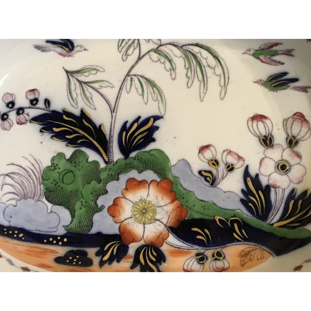 """Antique English Masons Ironstone Large Deep Serving Bowl. Circa 1820s. Lovely design of florals. Dimensions: 12 1/2"""" x 10""""..."""