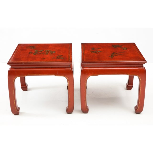 Mid 20th Century pair of Chinoiserie red lacquered end tables.