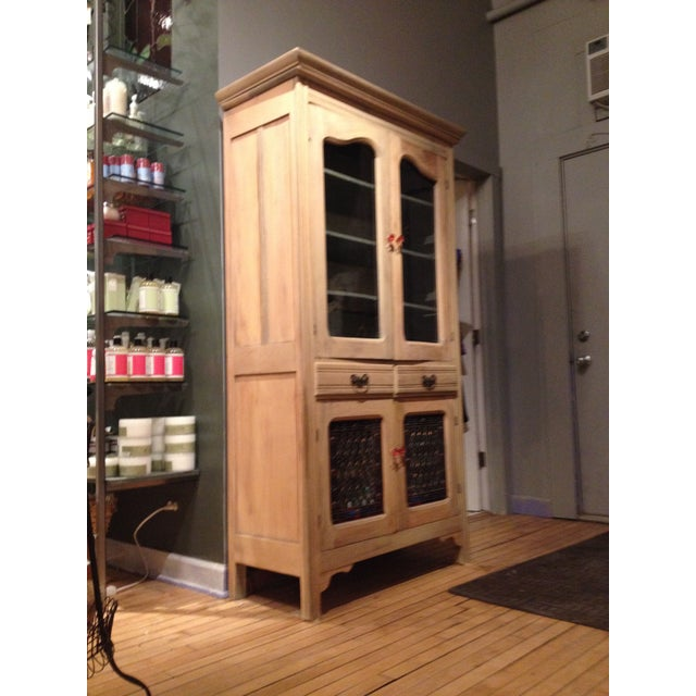 Antique Pine Cabinet With Clear Glass Doors