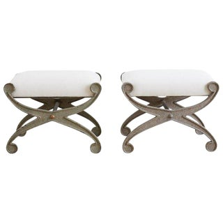 Pair of Curule Iron Benches or Stools For Sale