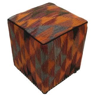 Boho Chic Camacho Orange/Rust Handmade Kilim Upholstered Ottoman For Sale
