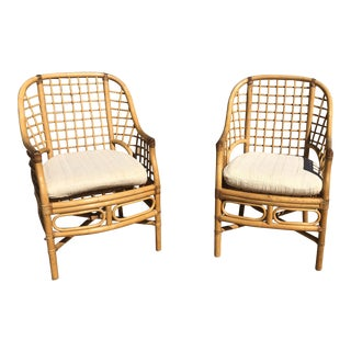 1980's Vintage Cane Wicker Chairs- A Pair For Sale