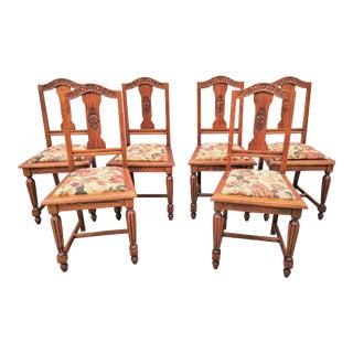 Antique Floral Carved Oak Dining Chair Set Restrored - Set of 6 For Sale
