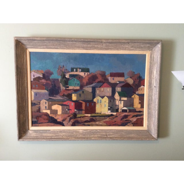 """Blue Mid-Century Modernist Oil Painting """"Manayunk"""" by Antonio Martino For Sale - Image 8 of 8"""