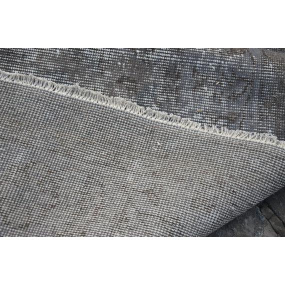 Turkish Gray Overdyed Antique Handwoven Oushak Carpet - 5′4″ × 8′8″ - Image 4 of 5