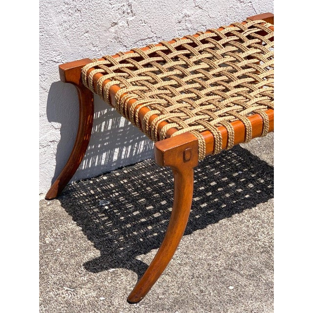 Vintage Klismos Mahogany and Woven Rope Bench, in the Manner of Robsjohn-Gibbons For Sale - Image 10 of 11