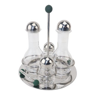Mepra Italian Stainless Steel & Glass Postmodern Cruet Set For Sale