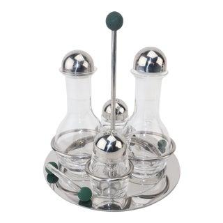 Mepra Italian Stainless Steel & Glass Postmodern Cruet Set For Sale