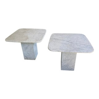 1960's Italian Carrara Marble Accent Side Tables - a Pair For Sale