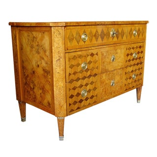 A Handsome Swedish Gustavian Alder Root Parquetry Chest For Sale