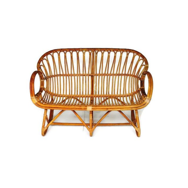 Boho Chic Vintage Sculptural Bamboo Settee Franco Albini Style Love Seat For Sale - Image 3 of 7