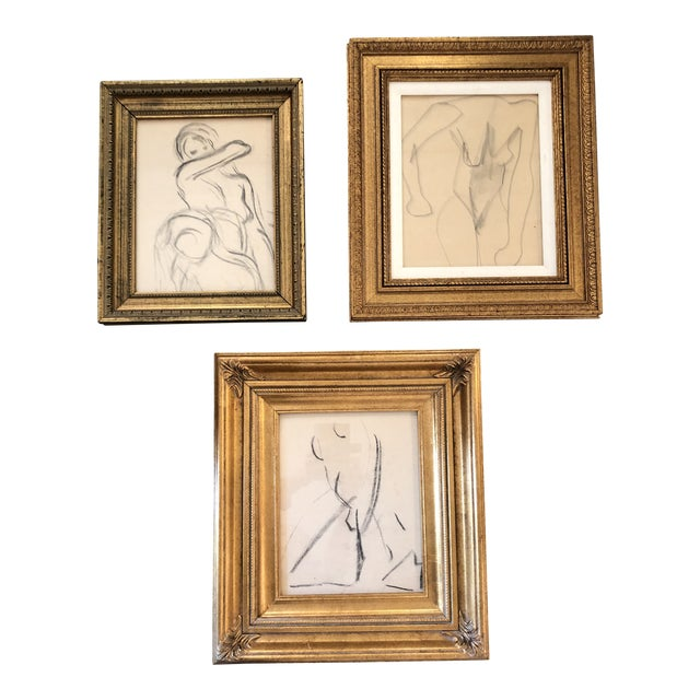 Gallery Wall Collection 3 Original Vintage Female Nude Charcoal Studies For Sale
