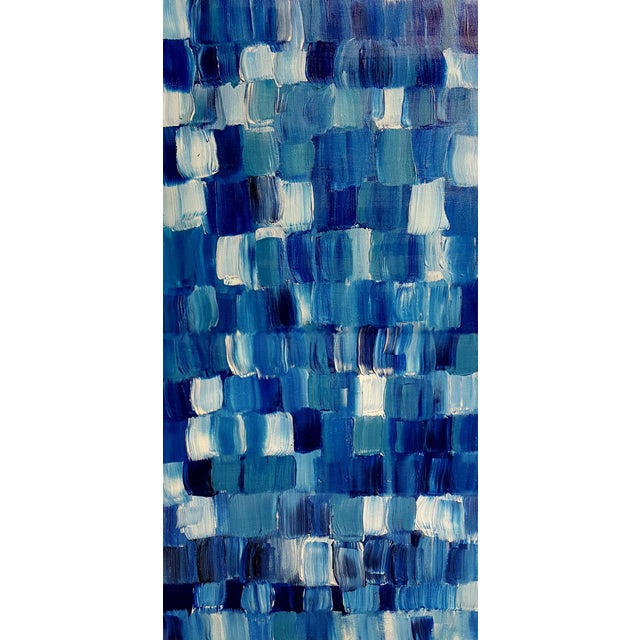 """Blue Thing"" Modern Geometric Crosshatch Painting - Image 5 of 5"