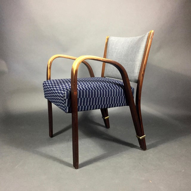 "Blue ""Bow Wood"" Armchair, Hughes Steiner, France 1950s For Sale - Image 8 of 8"