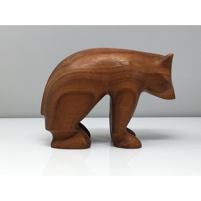 Mid 20th Century Danish Modern Hand Turned Wood Bear Figurine For Sale - Image 5 of 9