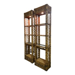 Rattan Chinoiserie Style Etageres - a Pair For Sale