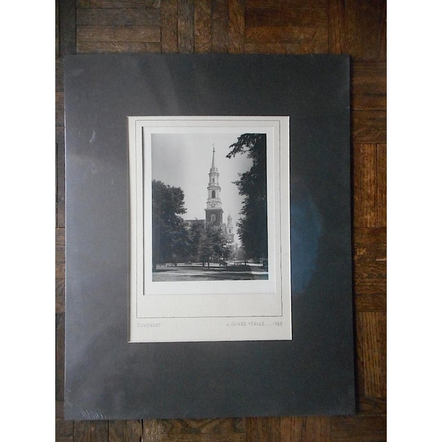 """This 9.25"""" x 12"""" vintage photograph is titled """"Covenant"""" and depicts a church on a tree lined street. pencil signed by the..."""