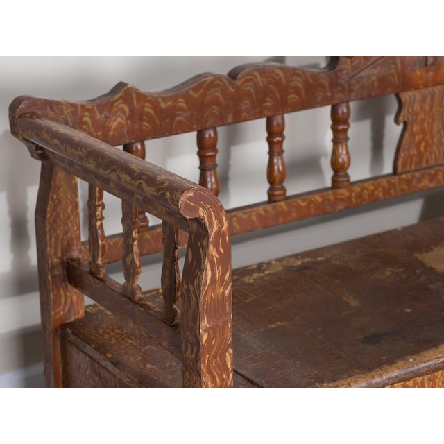 Hungarian Romanian Antique Painted Pine Bench circa 1875 For Sale - Image 11 of 11